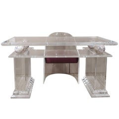 Charles Hollis Jones style lucite writing table and chair