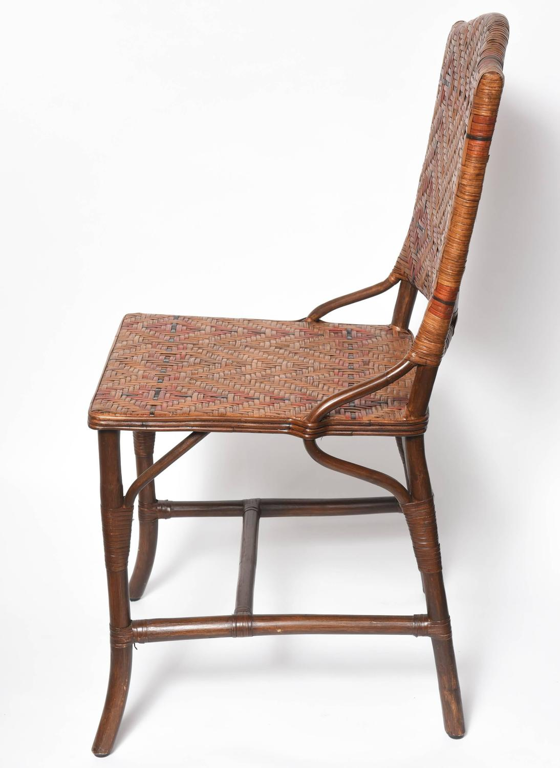 Pair Of Vintage French Rattan Side Chairs At 1stdibs