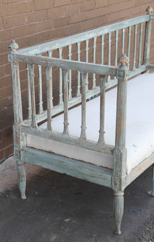 19th Century Swedish Gustavian Sofa Bench With Sage Green