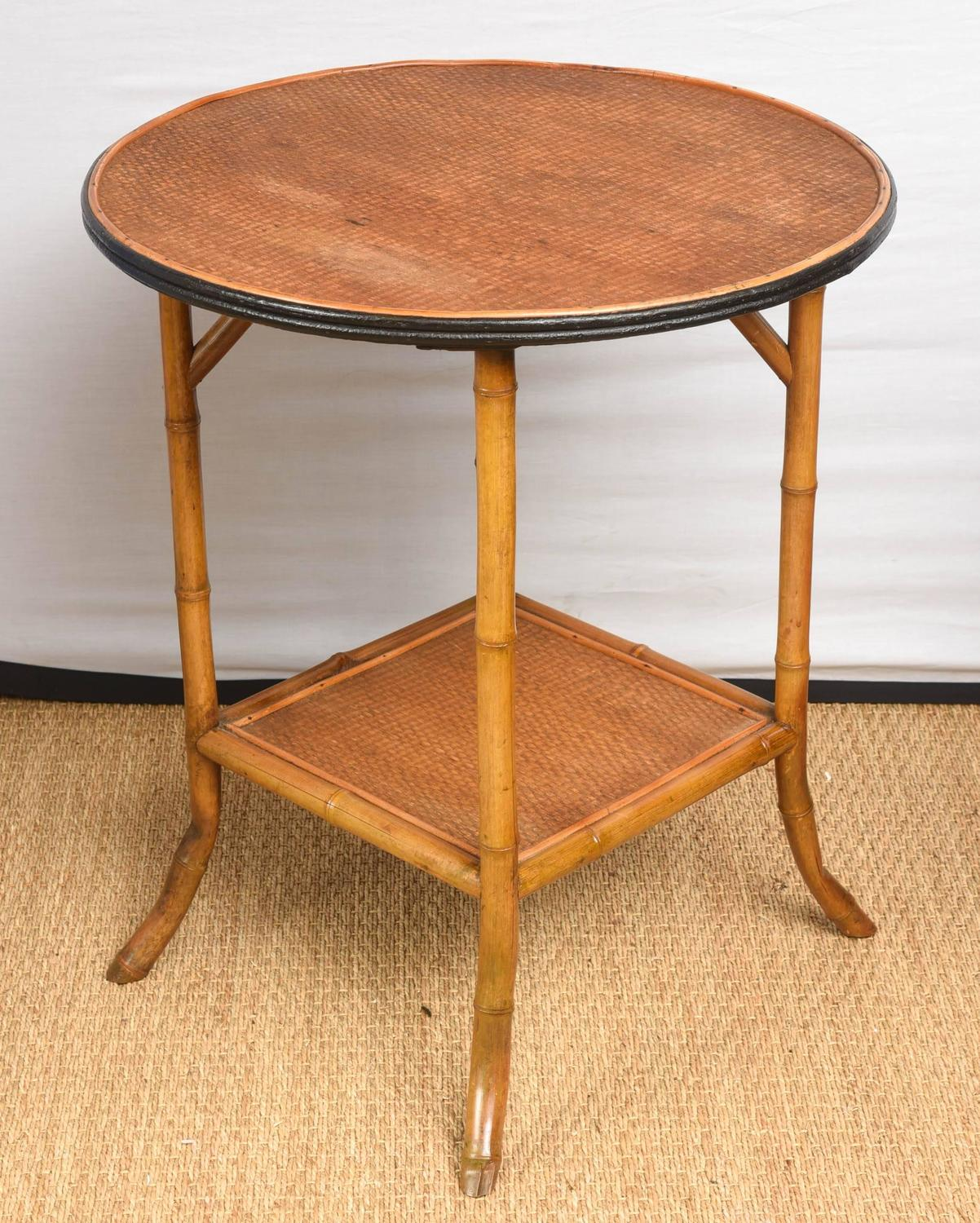 bamboo and rattan round side table at 1stdibs