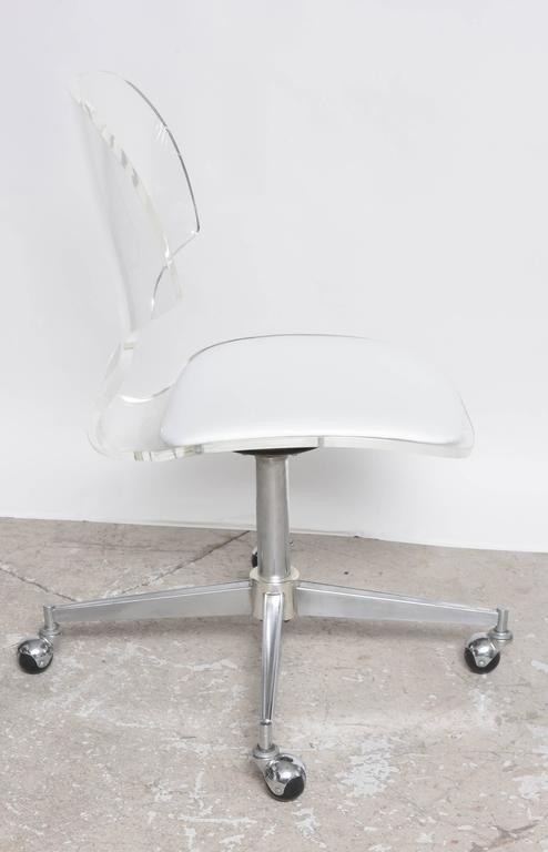 Lucite upholstered rolling swivel vanity chair is no longer available - Mid Century Modern Hill Manufacturing Lucite Rolling
