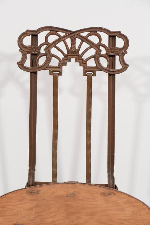 Set Of Four Art Nouveau Cast Iron Folding Chairs With Wood Seats In Good  Condition For