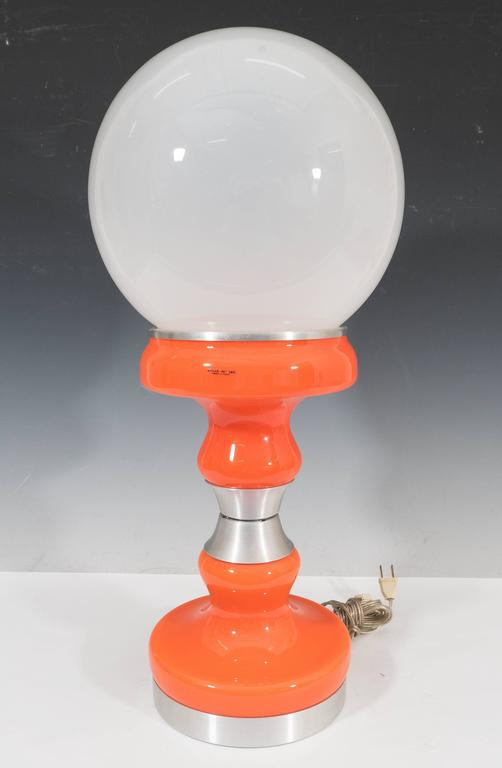 vintage italian frosted glass globe table lamp in orange by stilux at. Black Bedroom Furniture Sets. Home Design Ideas