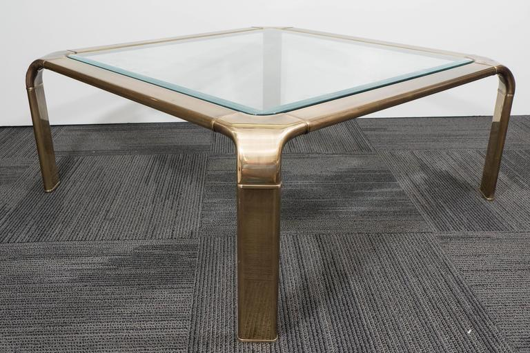 1970s Brass and Glass Waterfall Coffee Table by John Widdicomb 3
