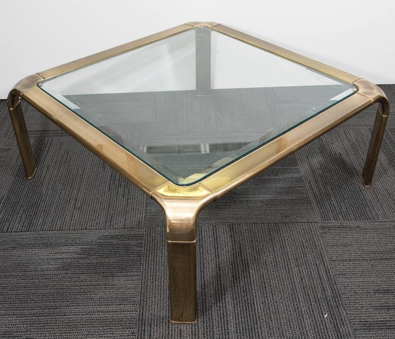 1970s Brass and Glass Waterfall Coffee Table by John Widdicomb 5