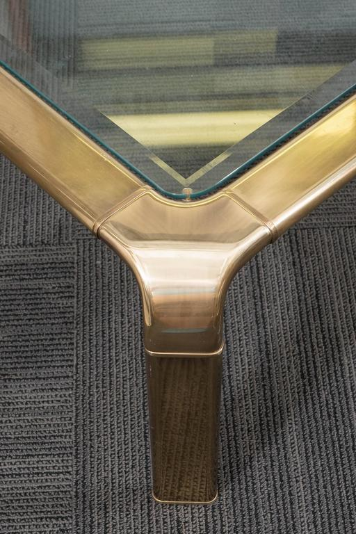1970s Brass and Glass Waterfall Coffee Table by John Widdicomb 6