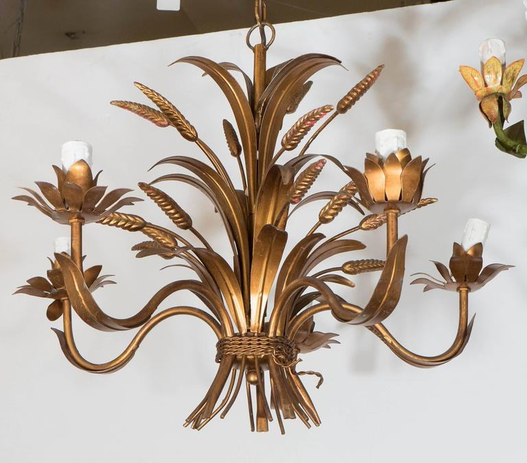 Spectacular french 1960s wheat tole chandelier in gilded metal at a vintage hollywood regency style five arm chandelier produced in france circa 1960s mozeypictures Image collections