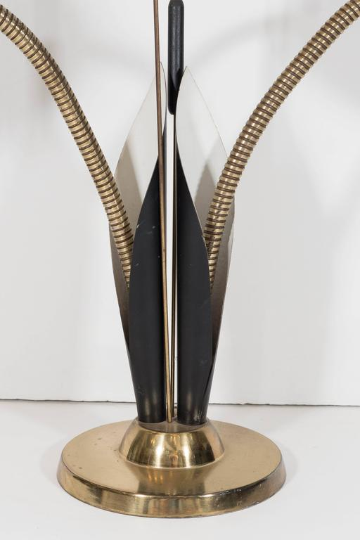 Mid Century Black Enamel And Br Gooseneck Lamp With Cat Tail Motif