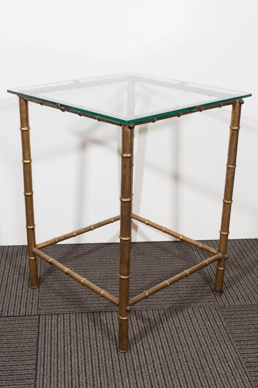 Midcentury Gold Leaf Bamboo Motif Side Table With Glass