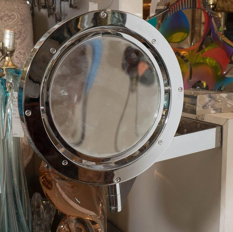 Adjustable Wall Mounted Saturn Mirror In Chrome At 1stdibs