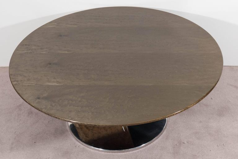 Italian A Saporiti Modernist Coffee Table in Lacquered Birdseye Maple on Steel For Sale