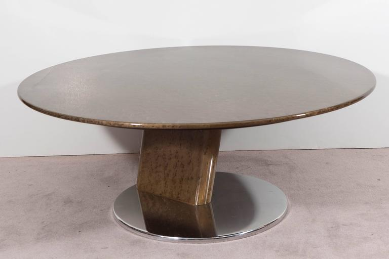 Polished A Saporiti Modernist Coffee Table in Lacquered Birdseye Maple on Steel For Sale