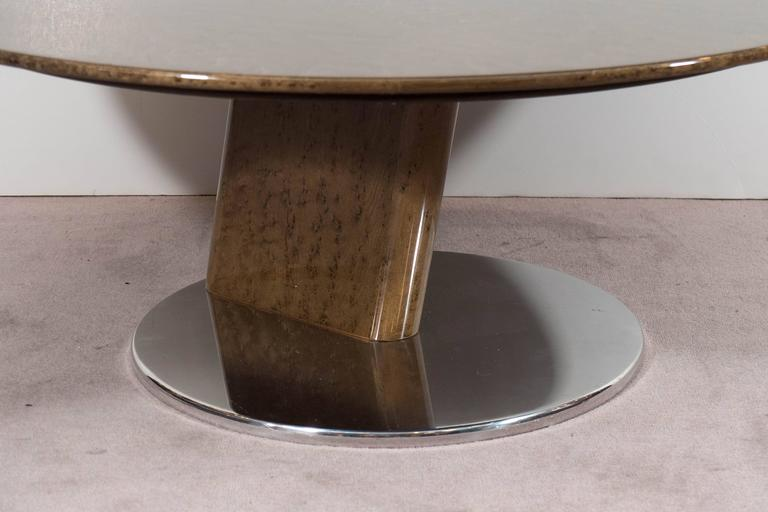 A Saporiti Modernist Coffee Table in Lacquered Birdseye Maple on Steel In Good Condition For Sale In New York, NY