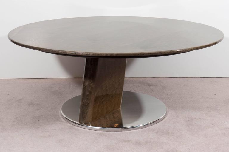 Late 20th Century A Saporiti Modernist Coffee Table in Lacquered Birdseye Maple on Steel For Sale