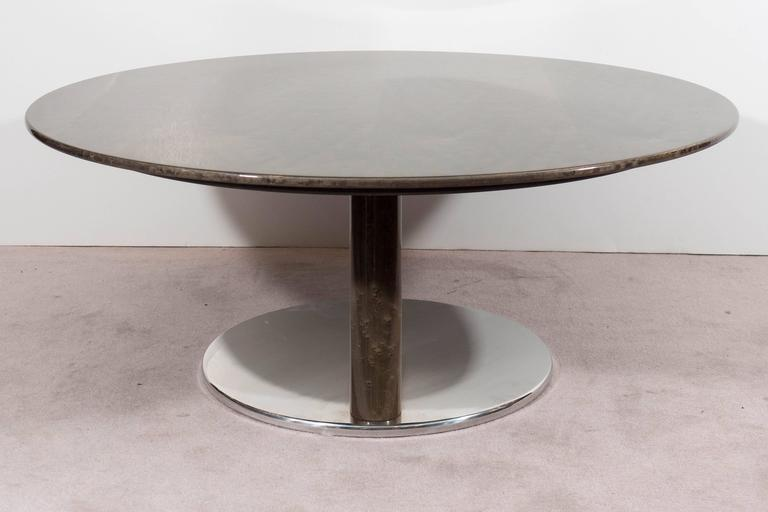 A Saporiti Modernist Coffee Table in Lacquered Birdseye Maple on Steel For Sale 1