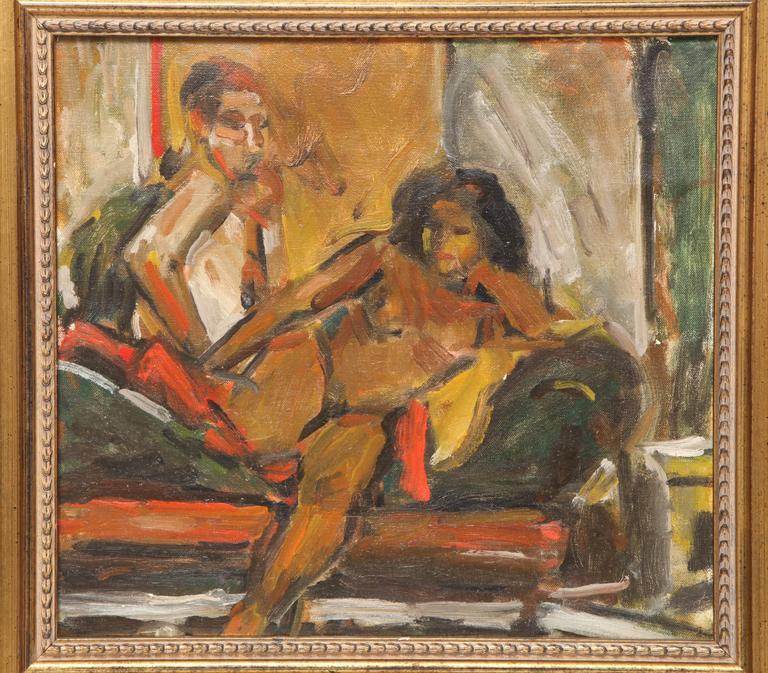 Decorative painting by Eduardo Rouario, circa 1968. Acrylic on canvas, framed in an antique frame.
