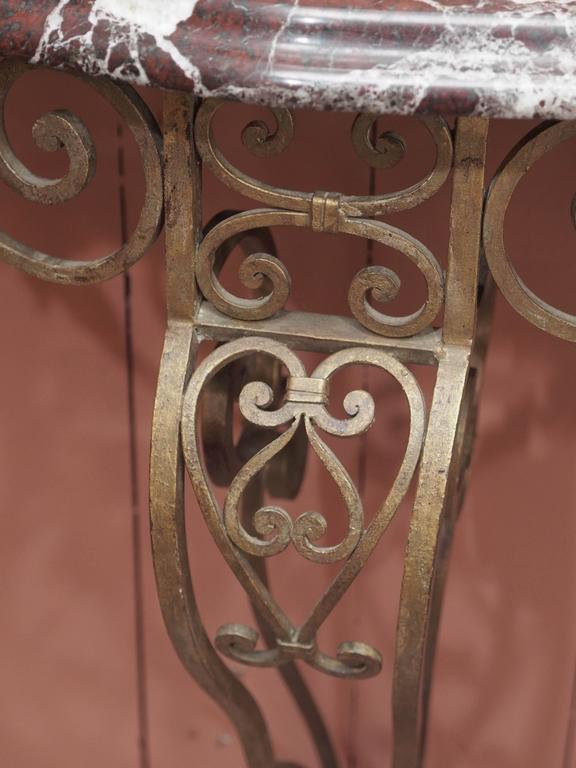 French Art Deco Iron Console with Marble Top 4