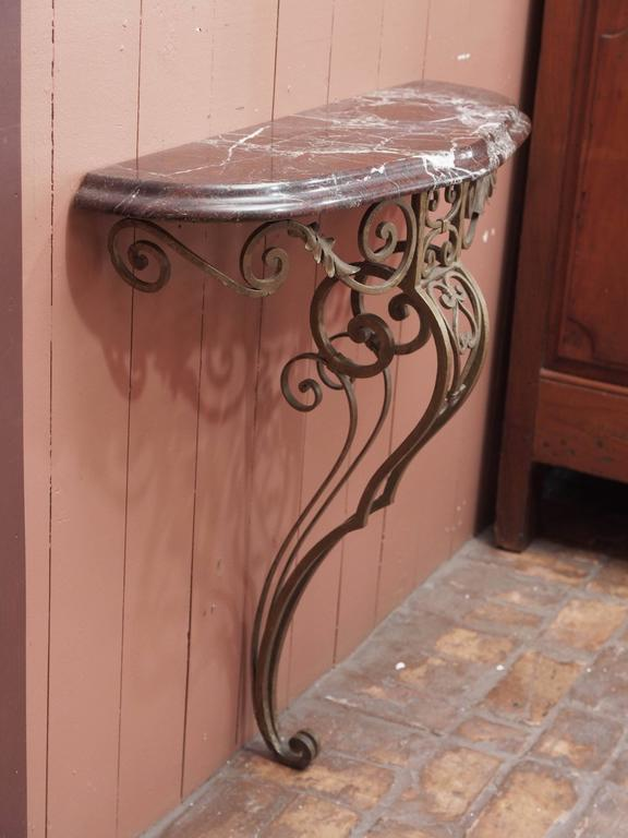 French Art Deco Iron Console with Marble Top 6
