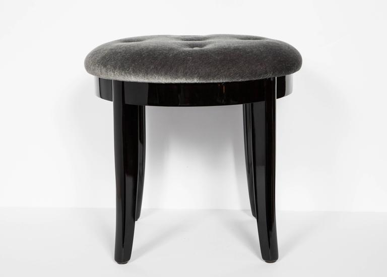 American Elegant Art Deco Vanity Stool in Black Lacquer and Grey Mohair For Sale