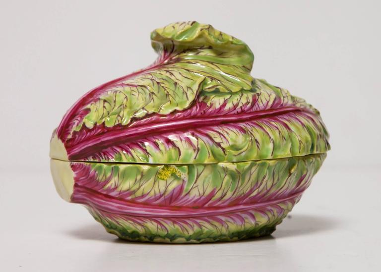 German Rare Meissen Covered Box/Small Tureen in the Form of a Cabbage For Sale