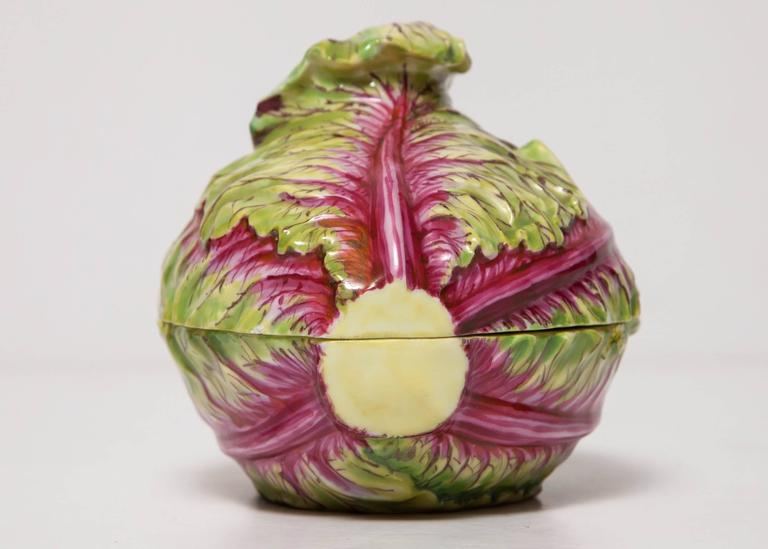 Rare Meissen Covered Box/Small Tureen in the Form of a Cabbage In Excellent Condition For Sale In New York, NY