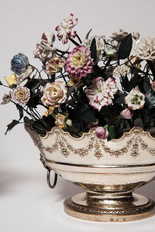 Neoclassical Louis Xvi Style Porcelain Flower Arrangements In Oval Baskets Pair At 1stdibs