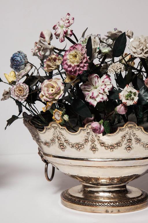 Neoclassical Louis Xvi Style Porcelain Flower Arrangements