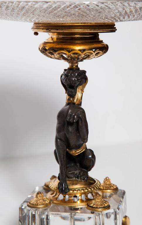 Louis Philippe Exceptional Pair of Antique French Baccarat Crystal and Doré Bronze Compotes For Sale
