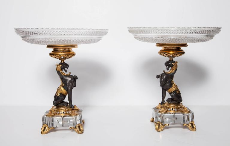 19th Century Exceptional Pair of Antique French Baccarat Crystal and Doré Bronze Compotes For Sale