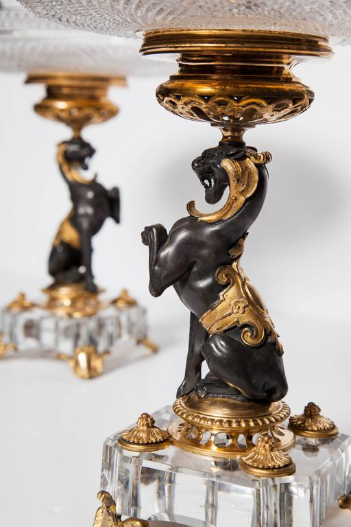 Exceptional Pair of Antique French Baccarat Crystal and Doré Bronze Compotes For Sale 1
