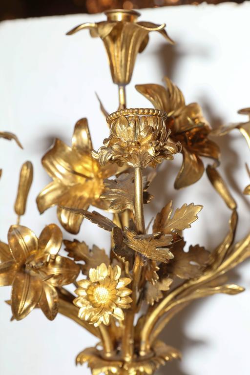 Three-Piece Gilt and Patinated Bronze Clock Garniture Set For Sale 2