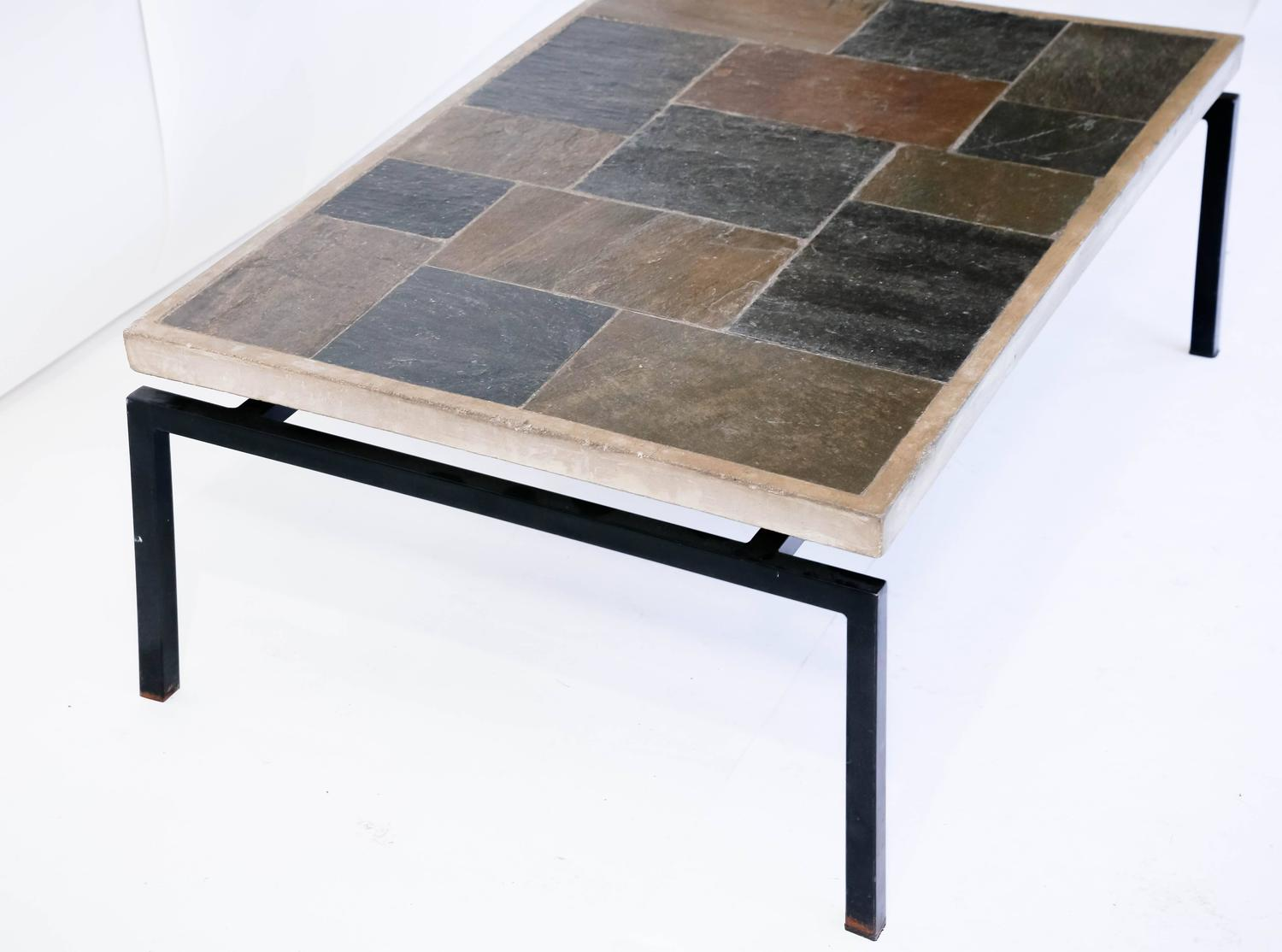 Slate Stone Mosaic Top Table In The Manner Of Paul Kingma At 1stdibs