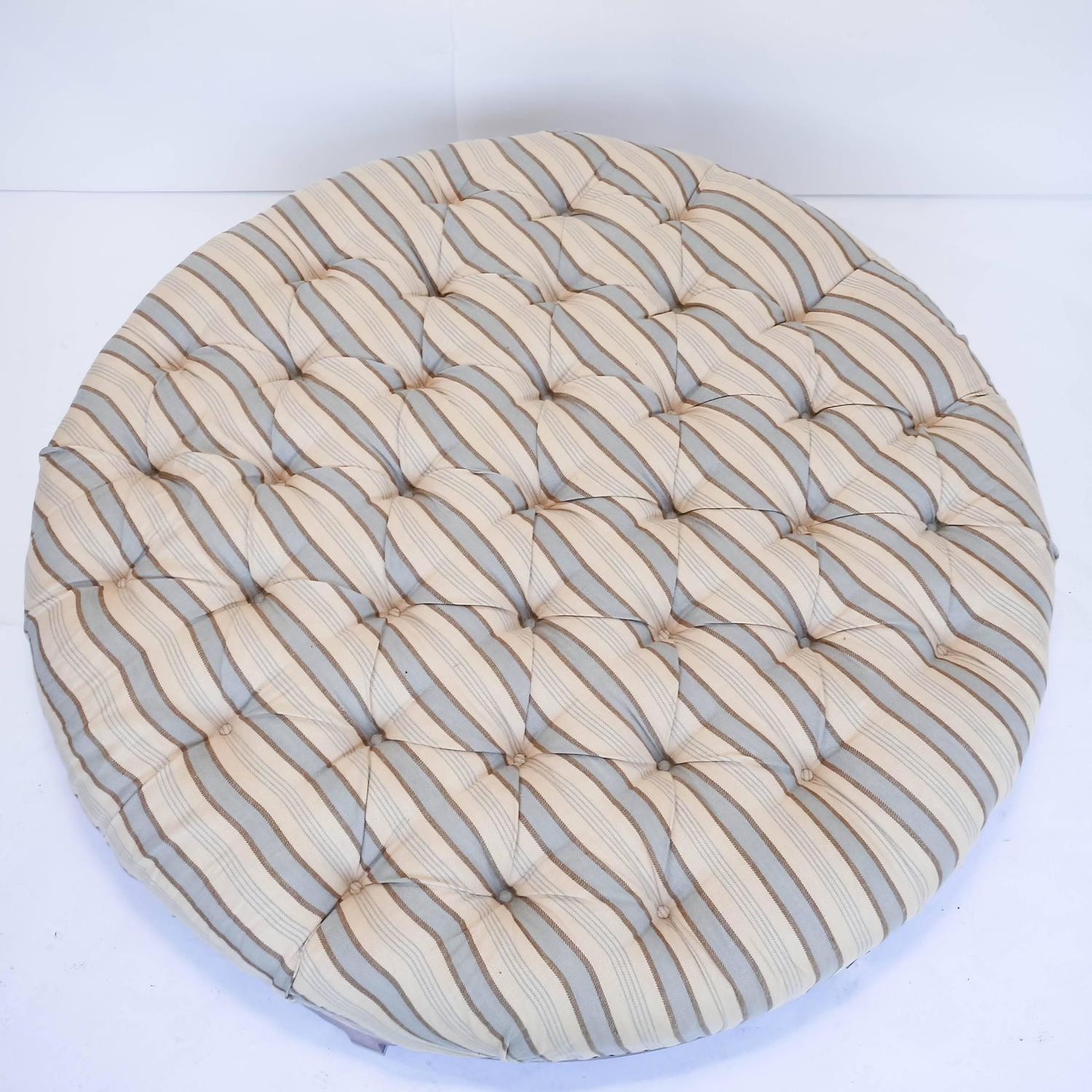 Large Round Ottoman : Large Round Tufted Ottoman with Striped Upholstery at 1stdibs