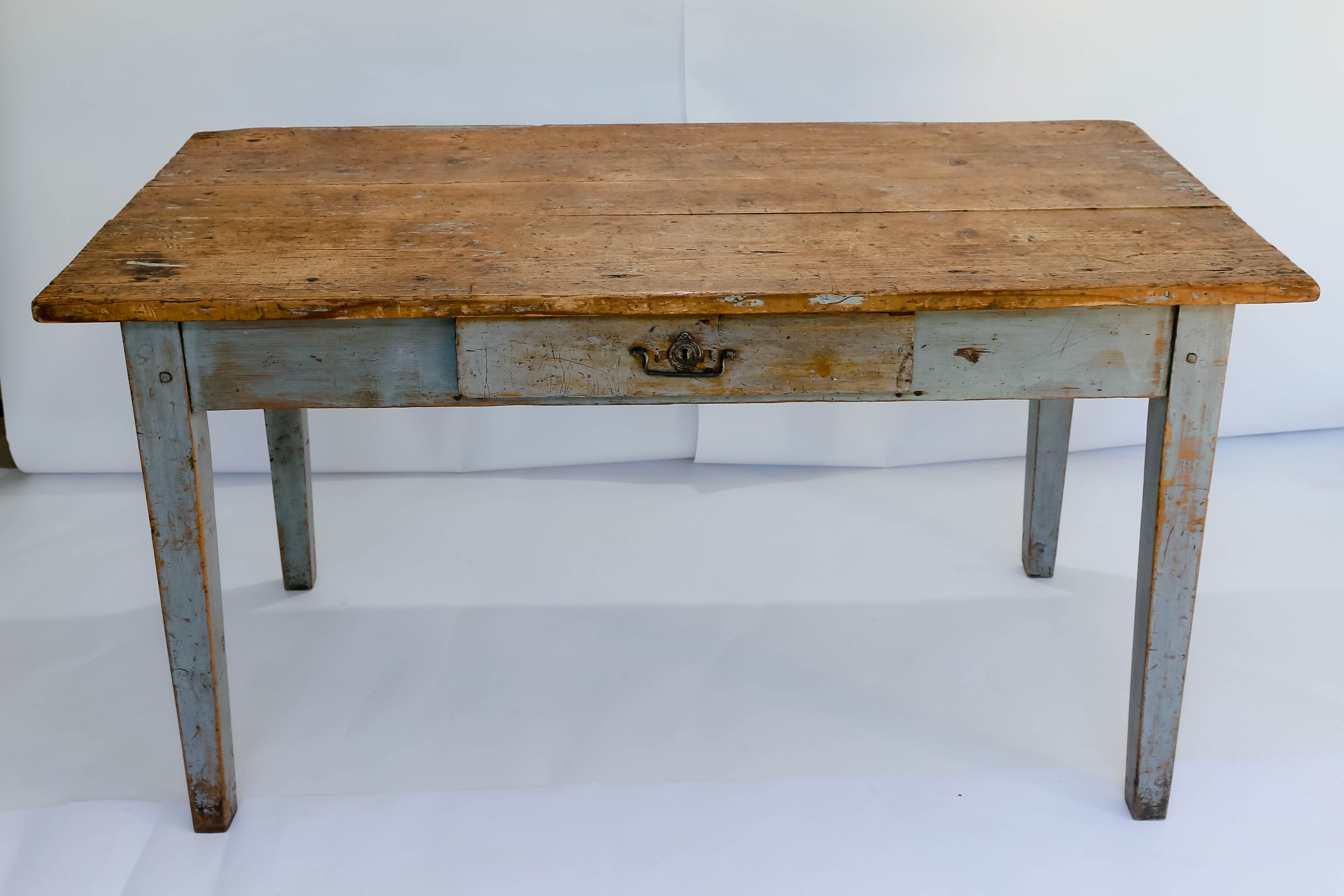 Rustic Painted Farm Table or Writing Desk with Drawer at 1stdibs