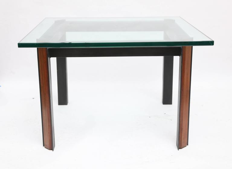 A Pair of Side Tables Mid Century Modern patinated iron wood 1950's Glass not included