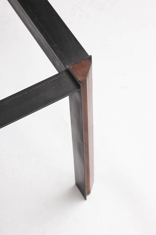 Side Tables Mid Century Modern Patinated Iron, Wood 1950's For Sale 1