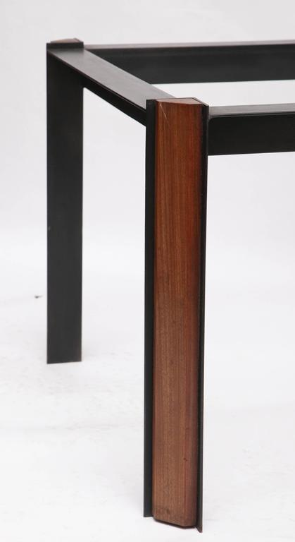 Side Tables Mid Century Modern Patinated Iron, Wood 1950's For Sale 2