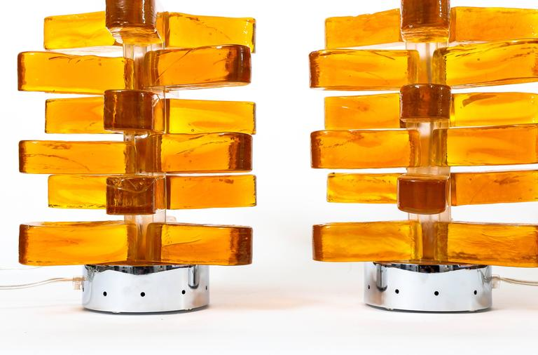 Mid-Century Modern Pair of Amber Murano Glass Lamps Featuring Interior Light with Chrome Detail