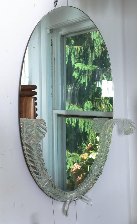 "Mid-Century Modern Lucite Detailed Oval Mirror by the ""Grosfeld House"" Company For Sale"