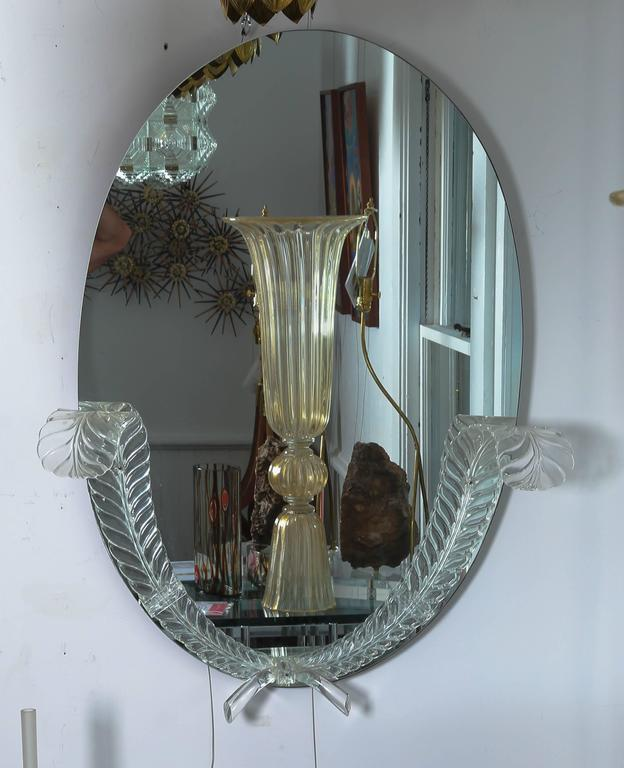 "American Lucite Detailed Oval Mirror by the ""Grosfeld House"" Company For Sale"