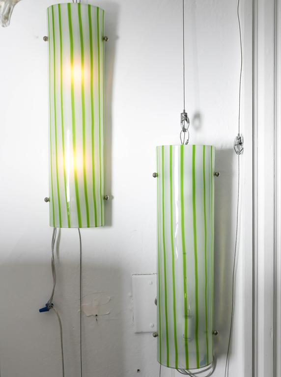 Pair ofgreen and white striped Murano glass sconces by Salviati