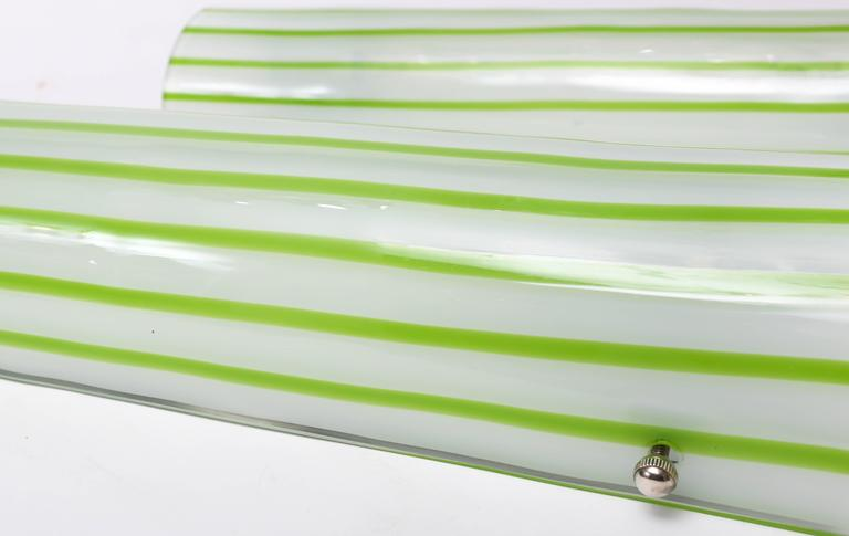 Italian Pair of Green and White Striped Murano Glass Sconces by Salviati For Sale
