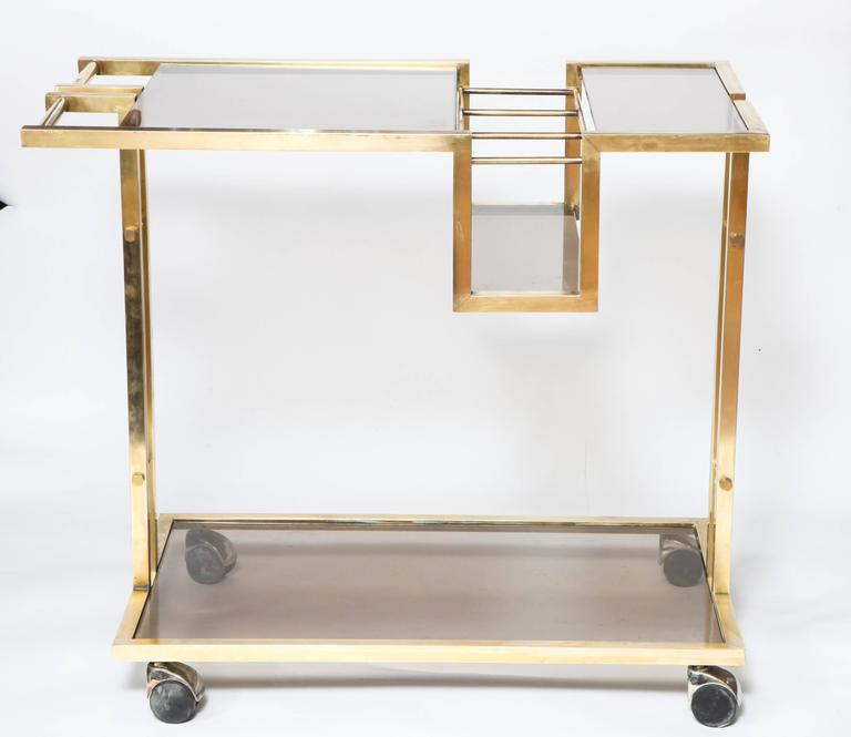 Vintage Italian Brass Bar Cart with Bottle Insert and Smoked Glass ...