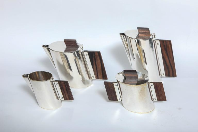Art Deco La Maison Desny Nickel Plated and Rosewood Four-Piece Tea Set 2