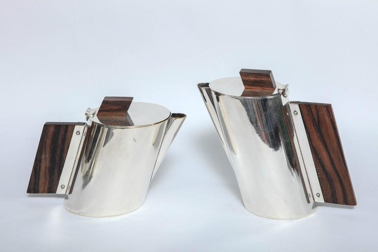 Art Deco La Maison Desny Nickel Plated and Rosewood Four-Piece Tea Set 7