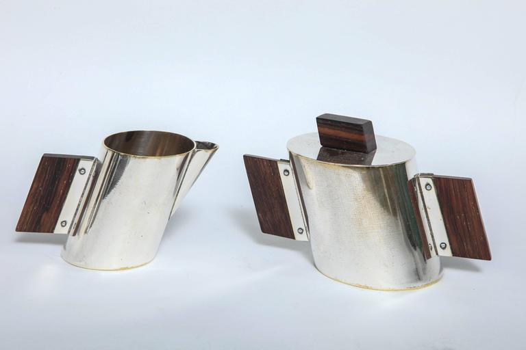 Art Deco La Maison Desny Nickel Plated and Rosewood Four-Piece Tea Set 10