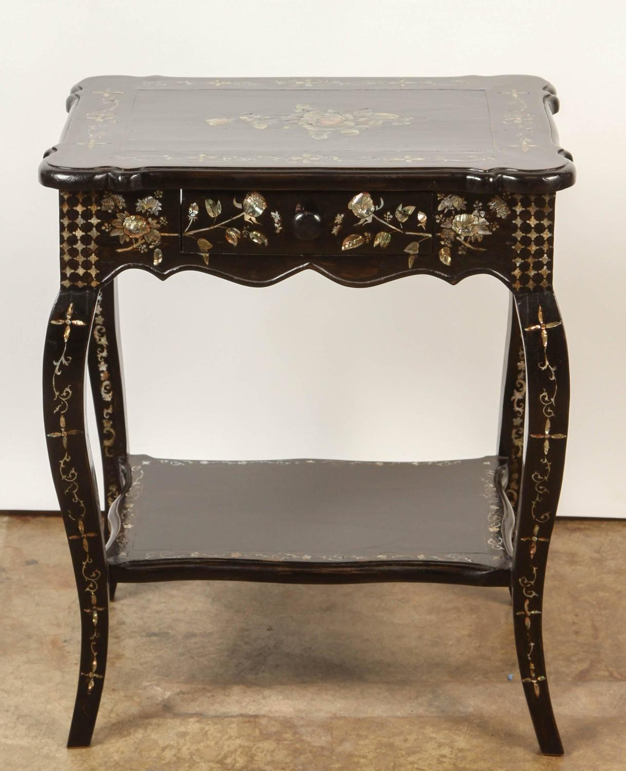 Pair of French Colonial Rosewood and Mother-of-Pearl