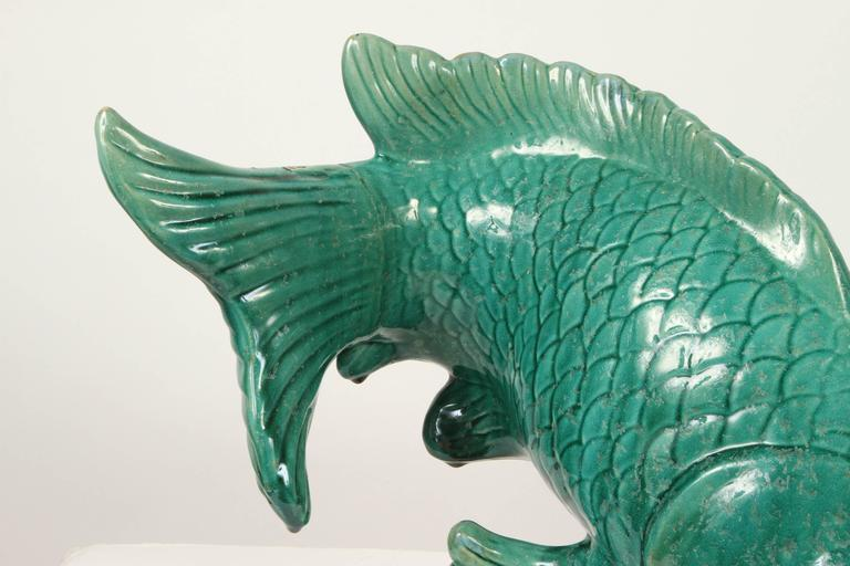 Wonderful large ceramic koi figure for sale at 1stdibs for Koi fish figurines