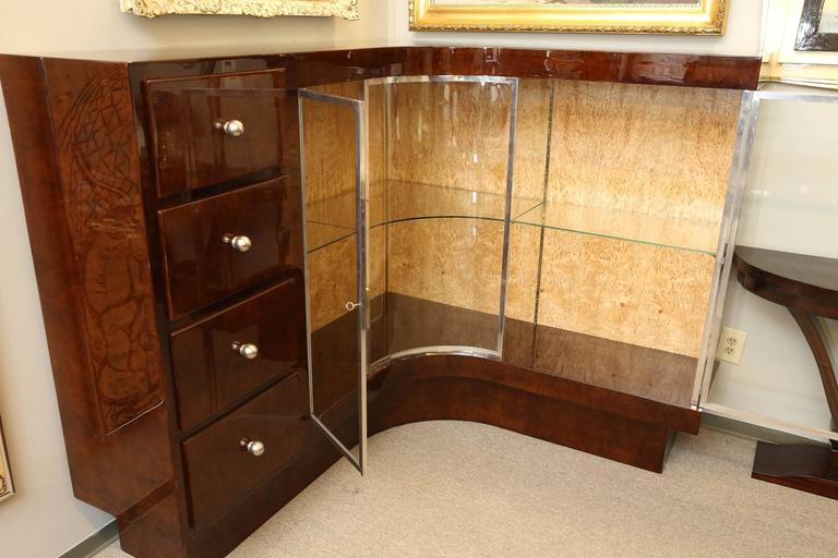 Art Deco French Demilune Corner Cabinet In Good Condition For Sale In Houston, TX