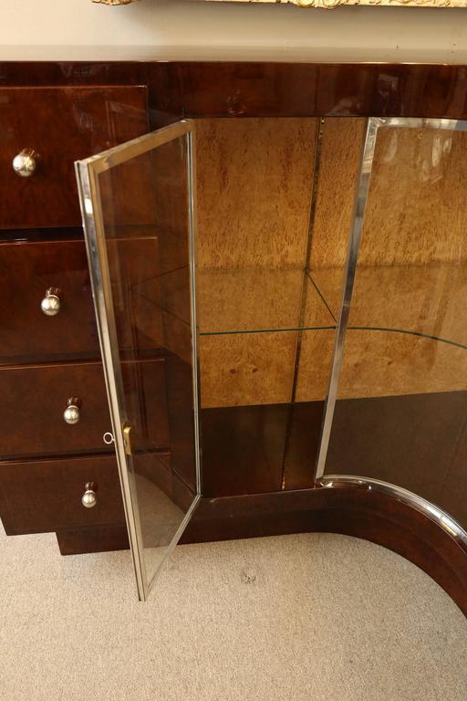 Mid-20th Century Art Deco French Demilune Corner Cabinet For Sale